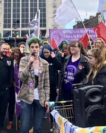 Trans Pride organiser speaking at International Women's Day protest in Dublin