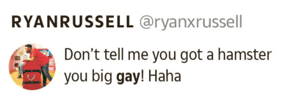Homophobic tweet by Ryan Russell