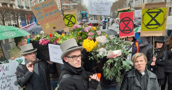 Extinction Rebellion members at their Funeral for Humanity earlier this year