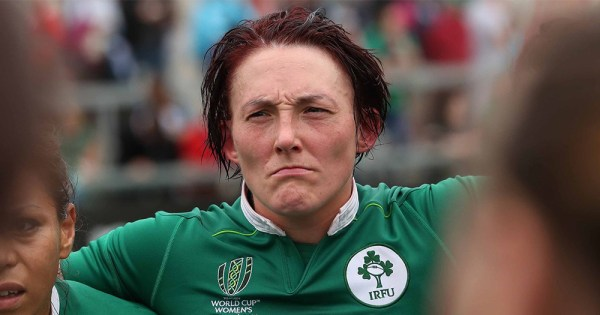 Sportswoman Lindsay Peat lining up for a rugby game