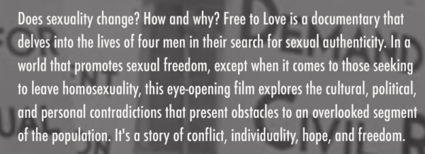 A quote from the documentary Free To Love, which promotes forms of conversion therapy left untouched by legal bans