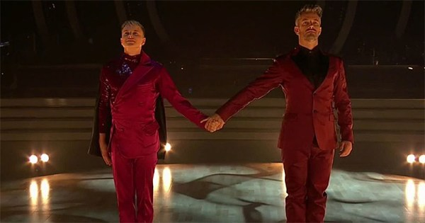 Courtney Act and her partner in their Dancing With The Stars Performance