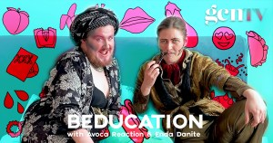 Picture of Enda Danite and Avoca Reaction sitting on a bed text reads: Beducation with nda Danite and Avoca Reaction