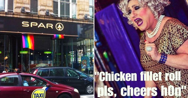 An image of a Spar shop in Dublin and a meme from Gay Spar Instagram account portraying a drag queen