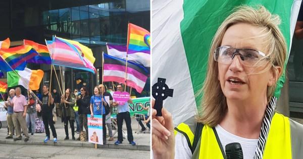 Demonstrators holding rainbow flag outside Google HQ and Gemma O'Doherty