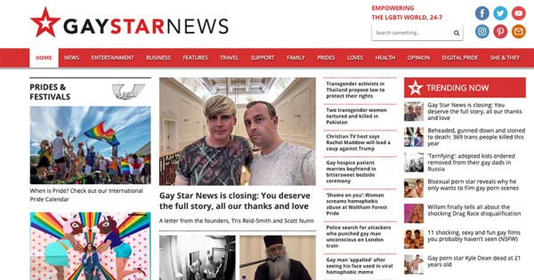 The homepage of Gay Star News website