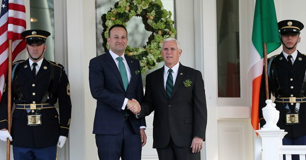 Vice President Mike Pence and Taoiseach Leo Varadker shaking hands at the annual St.Partick trip.