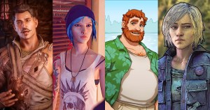 The image shows four video game characters standing in a row. The first is Dorian Pavus, a man with a moustache wearing a brown tunic. Next is Chloe, who has blue hair and a pink beanie. Then a character from Dream Daddy, whois wearing a green shirt and a beer belly. The final image is one of Violet from The Walking Dead, who has a determined expression and is staring straight at the viewer. They are all cartoon images.