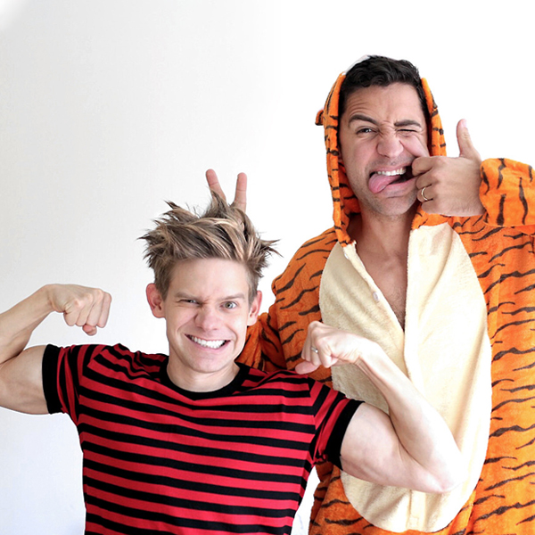 Two men dressed up in Calvin and Hobbes Halloween costumes