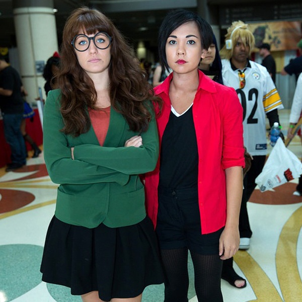 Two women dressed up as Daria and Jane