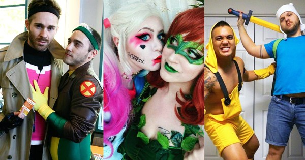 Three sets of people dressed up in Halloween costumes as Gambit and Rogue from X-Men, Harley Quinn & Poison Ivy, Finn & Jack the Dog from Adventure Time