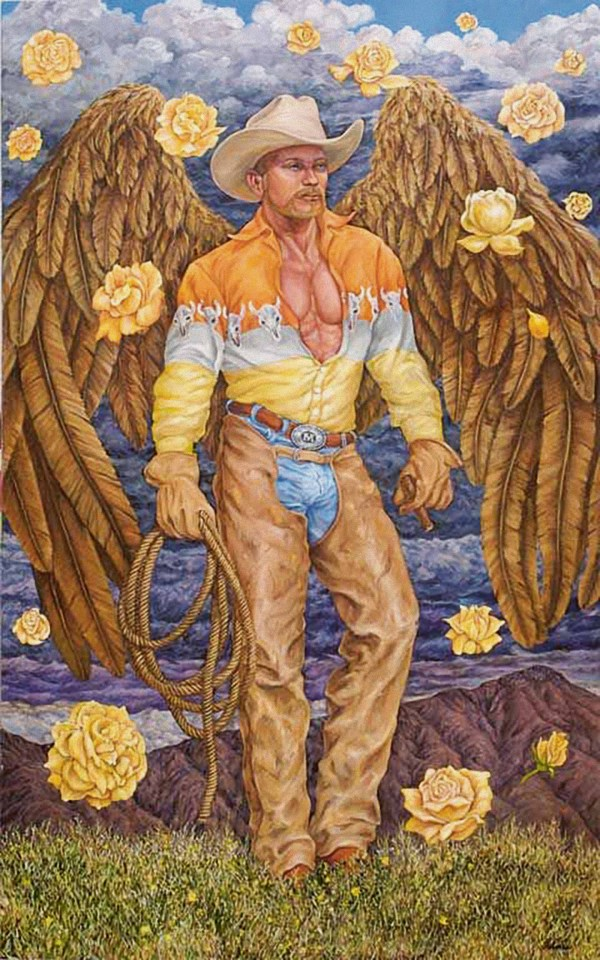 A painting portraying a cowboy wearing a hat by artist Delmas Howe