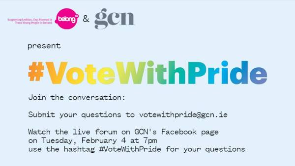 Vote With Pride image highlighting the necessary information to get in touch for the live event, you can email questions to votewithpride@gcn.ie