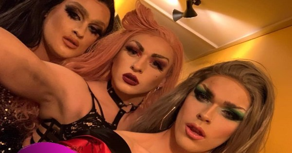 The three main queen from the Haus of W.I.G taking a selfie