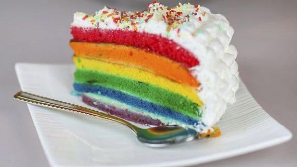 A slice of rainbow cake for same sex wedding