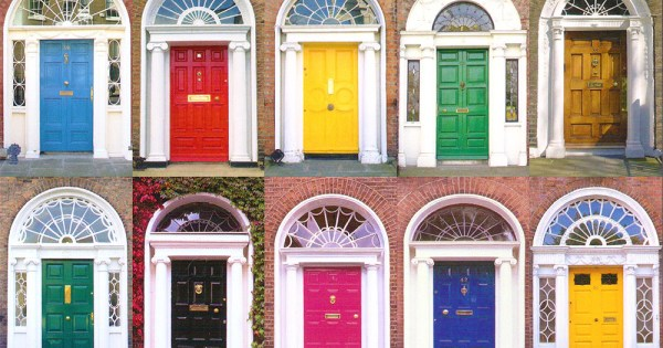 LGBT+ housing crisis : a series of multicoloured doors in Dublin
