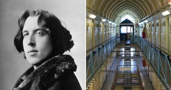 Oscar Wilde (left) Reading Gaol (right)