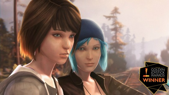 A computer animated image of two young women dressed in grunge style clothing