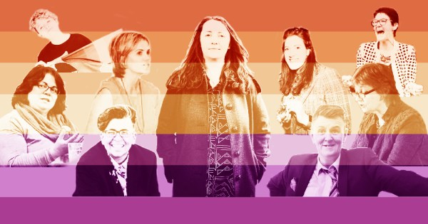 A group of Irish lesbian trailblazers overlaid with a gradient of colour.
