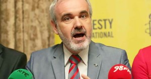 Colm O'Gorman speaks at a press conference