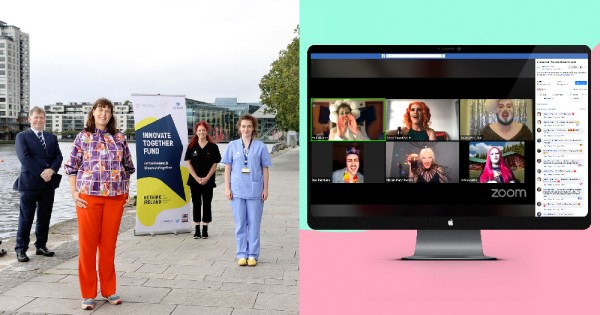 Awardees of Innovate Together on left with In and Out screengrab on right