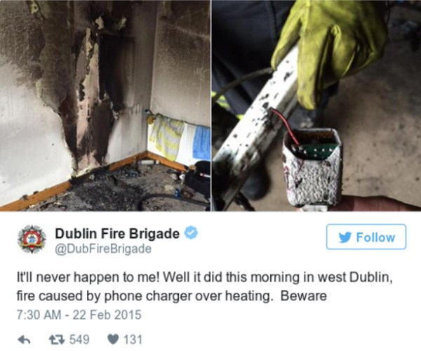 NationalFireSafetyWeek 2020: a screen shot from a tweet from Dublin Fire Brigade showing a fire occurring due to a phone charger