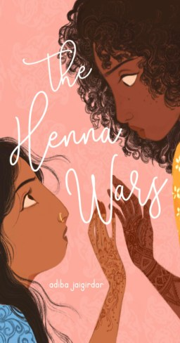 "Cover of ""The Henna Wars"", two girls touching hands covered in henna"