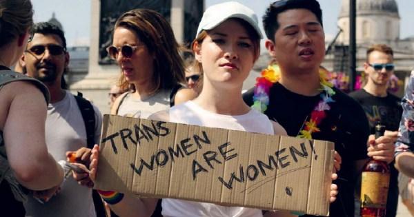 LGB Alliance Ireland group. Feminine person holds placard reading 'Trans women are women'