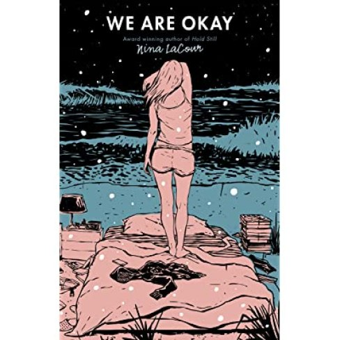 "Cover for ""We Are Okay"", girl standing on her bed in the snow"