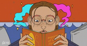 An illustration of a girl with glasses reading a book