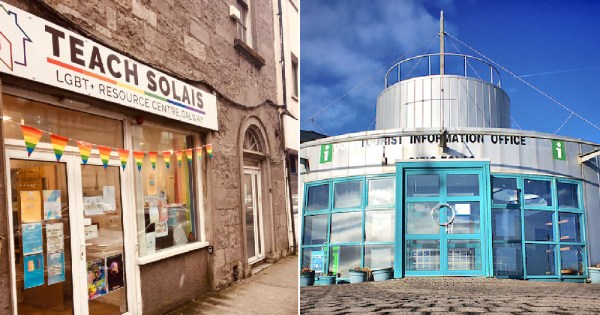 #SaveOurTeachSolais: Split screen on the left Teach Solais Galway city venue and on the right the Salthill Tourist office