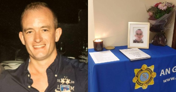 A split screen of Garda Alan Leblique and a table with a candle and his photo