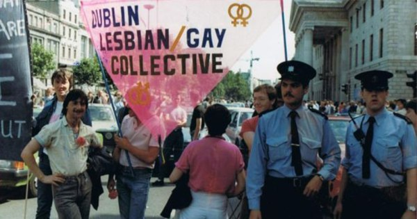 Gay marchers in Dublin City centre in the 1980's