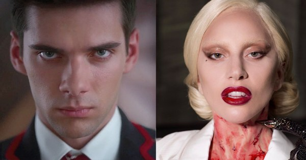 A split screen of a scowling man and a blood stained woman