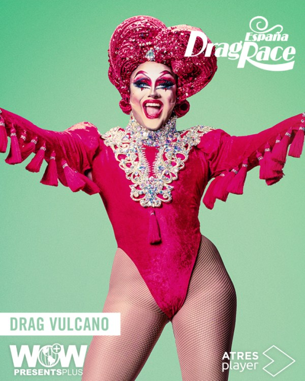 One of the contestant of Drag Race España wearing a red body suite