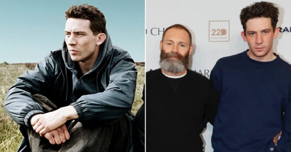 Spilt screen between Josh O'Connor in God's Own Country and the actor and director standing beside each other, who will soon be creating a queer horror movie