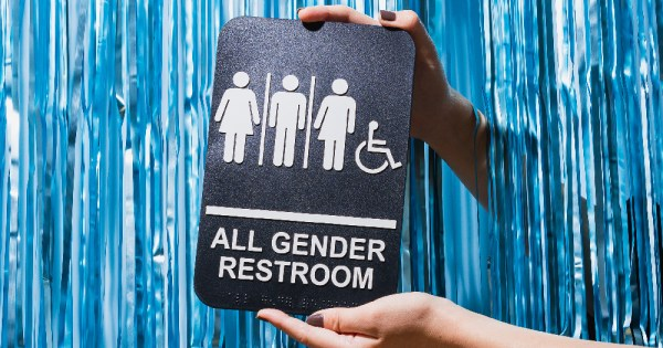 A sign saying All Gender Restroom, gender neutral toilets were the recent discussion on Liveline