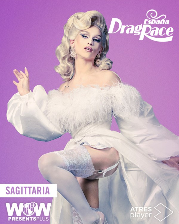 One of the contestant of Drag Race España wearing a white gown