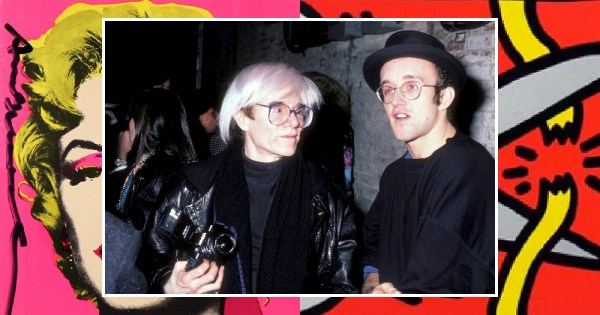 Image of Andy Warhol and Keith Haring overlaid on some of their most famous art