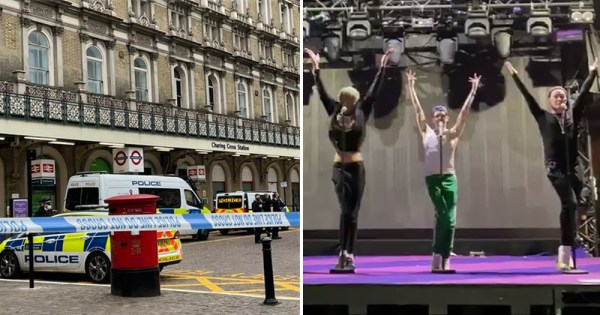 Split Screen: Image of bomb hoax at London nightclub and Drag Race UK performers