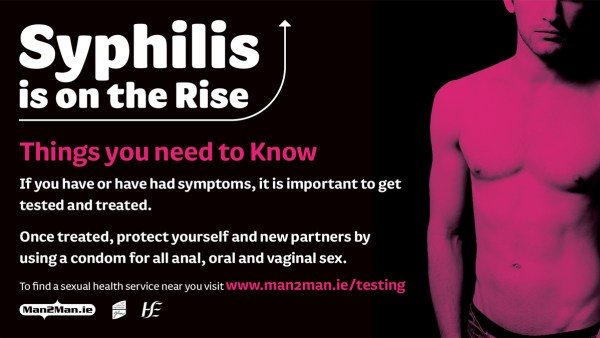 Man2Man campaign poster. Text reads: Syphilis is on the rise. A shirtless man stands next to the text.