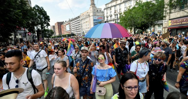 Crowds of people in a Pride march