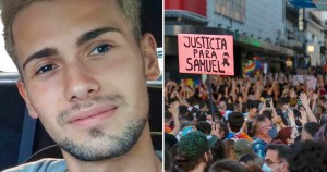 Split screen of murder victim Samuel Luiz L and protests after his death