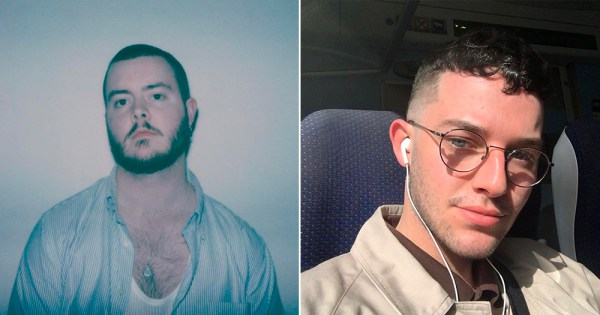 A split screen featuring headshots of two different young men
