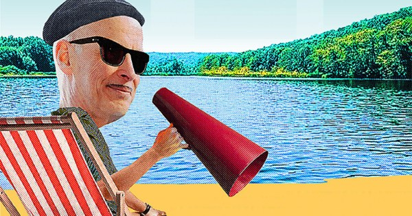 Camp John Waters: A collage of a man with a moustache in a director's chair holding a megaphone