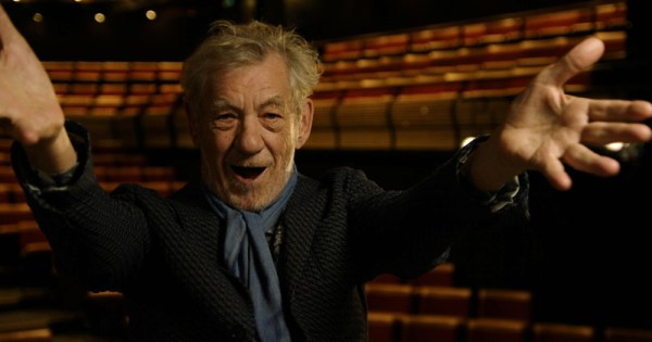 broadway's bright lights shine: Pic of Sir Ian McKellen holding his hands out to the camera in joy