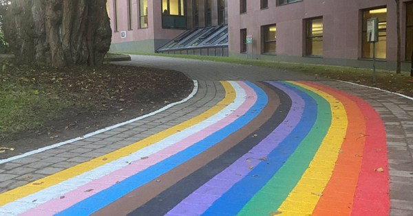 Cork University Rainbow Walkway. Footpath painted in progressive pride colours