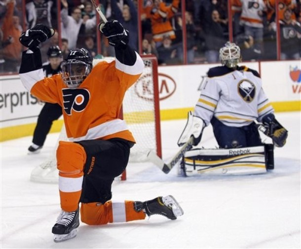 Depleted Flyers Offense Overwhelms Sabres 7-2