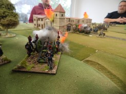 French Horse artillery bombard the town from the hill