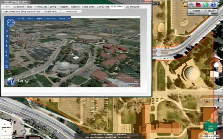 Microsoft Bing 3D property GIS map